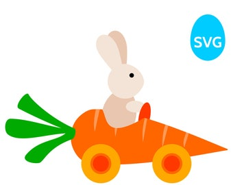 Easter Bunny driving a Carrot Car SVG file for Cricut & Silhouette