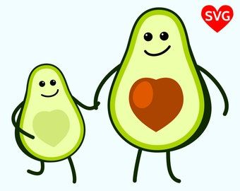 Adorable Avocado Kid and Mom SVG File, cute Avocado Mom and Avocado Baby clipart for Mother's Day or Cinco de Mayo
