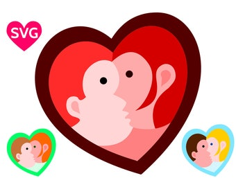 A lovely Kissing Couple SVG file for Valentine's Day, a Man and a Woman Kiss in a heart shape