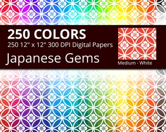 250 White Japanese Gems Digital Paper Pack with 250 Colors, Rainbow Colors Jewels Shippou Pattern Scrapbooking Digital Papers Download