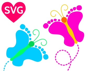 Baby Footprint Butterfly SVG file, Printable Birthday Shower Invites Template, Baby feet SVG butterflies, Boy, Girl, Baby foot butterfly PDF