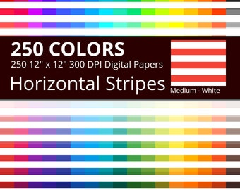 250 White Horizontal Stripes Digital Paper Pack with 250 Colors, Rainbow Colors Medium White Horizontal Stripes Scrapbooking Paper Download