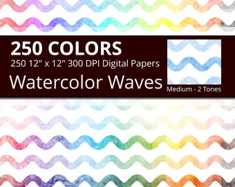 Watercolor Waves Digital Paper Pack, 250 Geometric Digital Paper Waves in Rainbow Colors, Geometric Sea Wave Background Watercolor Texture