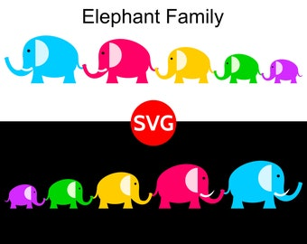 Elephant Family SVG File and printable clipart