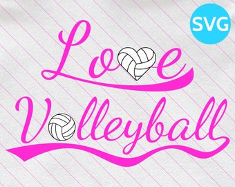 Love Volleyball SVG Design - SVG Volleyball Love cut file for Cricut & Silhouette - Volleyball Heart SVG clipart - Volley Ball Svg Files