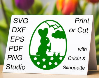 Very cute Easter Bunny eating a carrot in an Easter Egg SVG file to make Easter papercut, cards and gifts with a Cricut or Silhouette