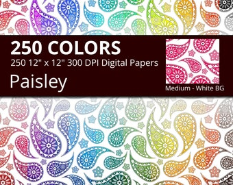 White Background Paisley Digital Paper Pack, 250 Colors Floral Digital Papers Paisley Printable Pattern, Medium Seamless Paisley Pattern