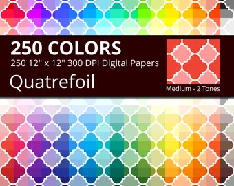 Quatrefoil Digital Paper Pack, 250 Colors Digital Paper Quatrefoil in Rainbow Colors, 2 Tones Quatrefoil Background, Quatrefoil Paper