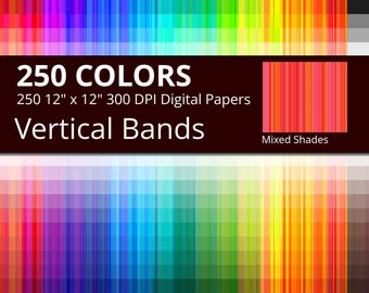 Mixed Shades Vertical Bands Digital Paper Pack, 250 Colors Vertical Stripes Digital Paper, Mixed Tints Vertical Digital Papers Stripes