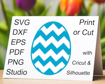 Chevron Easter Egg SVG file for Cricut and Silhouette and Chevron Easter Egg printable clipart in PDF and PNG to make Easter Egg cards