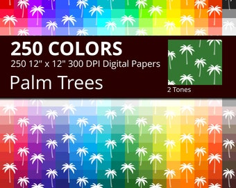 250 Tropical Palm Trees Digital Paper Pack with 250 Colors, Rainbow Colors Palm Trees on White Background Digital Papers for the Summer