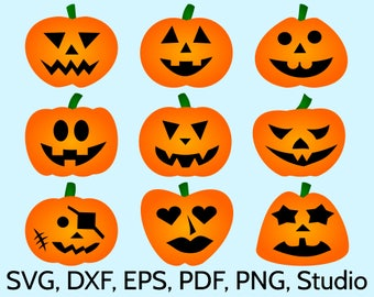 9 Halloween Pumpkins SVG files for Cricut & Silhouette. Original Jack O'Lantern Clipart Designs. Print or cut SVG Pumpkin template. pdf, dxf