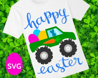 Happy Easter Monster Truck SVG file to make a cute Easter Shirt for Boy to wear for the Easter Egg Hunt