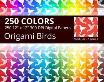 Origami Birds Digital Paper Pack, 250 Colors Origami Digital Paper Bird in Rainbow Colors, 2 Tones Paper Birds Background, Origami Paper
