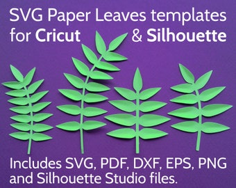 SVG Leaves for Cricut and Silhouette - SVG Leaf Set / Paper Leaves Template for papercraft flowers