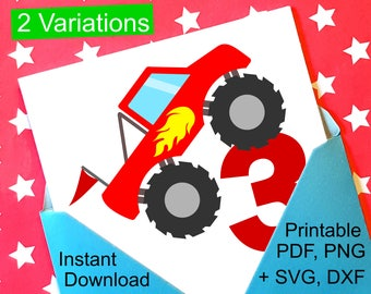 Monster Truck 3rd Birthday SVG and Printable Clipart to make a 3rd Birthday Shirt, Gift, Card, Invite orInvitations for boys