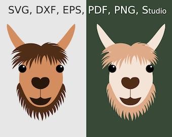 Llama SVG file for Cricut & Silhouette, Llama face SVG, Llama clipart PDF, Llama head svg cut file, Llama printable art, Llama dxf file