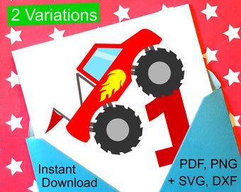 Monster Truck 1st Birthday SVG and Printable Clipart to make a 1st Birthday Shirt, Gift, Card, Invite orInvitations for boys