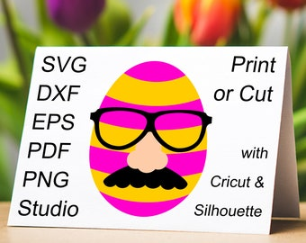 April Fools Easter Egg SVG file with Fake Mustache, Joke Nose and Glasses