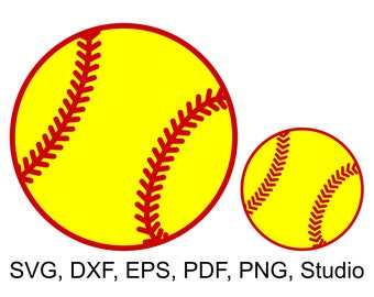Softball Ball SVG file for Cricut & Silhouette paper and vinyl cutting machines and printable Softball clipart