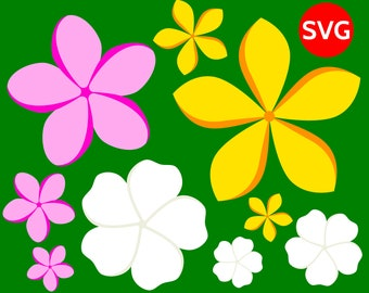 3 Plumeria Tropical Flower SVG Files for Cricut Silhouette to create tropical decor, wall art and backdrops