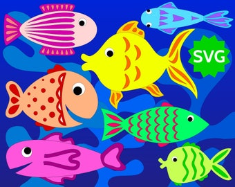 7 Assorted SVG Fishes + 3 Algae. Fish clipart / Aquatic plants for Sea, Ocean, Underwater, Aquarium. SVG cut files for Cricut & Silhouette.