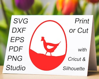 Hen inside a Easter Egg SVG file, a beautiful Easter Egg design with the silhouette of a Hen, to print or cut with a Cricut