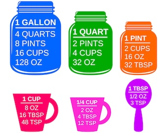 Colorful Measuring Cups SVG and Printable Kitchen Conversion Chart Clipart to make kitchen and cooking gifts