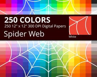 Halloween Spider Web Digital Paper Pack, 250 Colors Halloween Digital Paper Spider Web Pattern, Spiderweb Backdrop,  White Spider Web