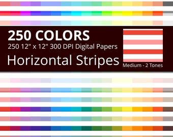 250 Tinted and White Horizontal Stripes Digital Paper Pack with 250 Colors, Rainbow Colors Lightly Colored and White Horizontal Stripes