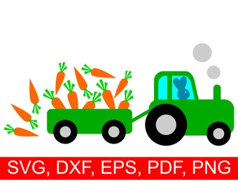 Easter Tractor SVG File with an Easter Bunny driving a tractor so full of carrots that some of them are falling
