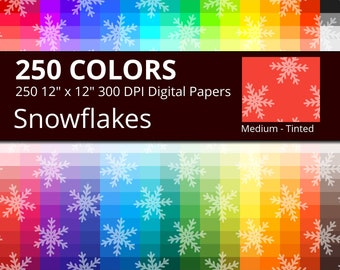 Snowflakes Digital Paper Pack, 250 Colors Tinted Snow Flakes Digital Paper, Christmas Digital Papers, Ice Crystal Pattern Winter Papers