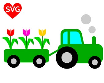 Spring Train with Tulips SVG File for Cricut and Silhouette