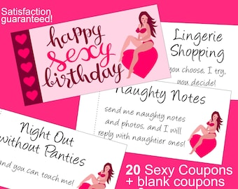 Sexy Birthday Gift For Him: Printable Naughty Coupons Book & 20 Sexy Ideas to Put Spice in and out of the Bedroom! Satisfaction guaranteed!