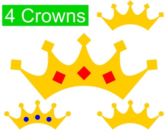 4 Crown SVG Bundle, Gold Crowns and Tiaras with Diamonds and Gems SVG files for Cricut & Silhouette