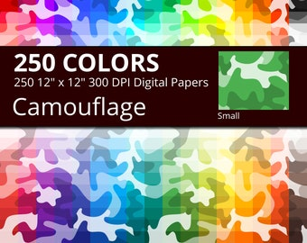 Camo Digital Paper Pack, 250 Colors Camouflage Digital Paper Camo Pattern, Small Camo Design, Camo Backdrop, Camouflage Seamless Pattern