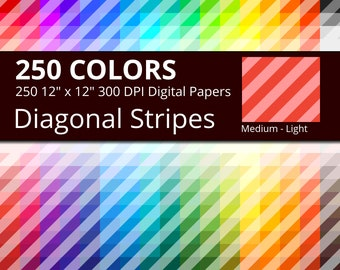 250 Diagonal Stripes Digital Paper Pack with 250 Colors, Rainbow Colors Medium Light Diagonal Stripes Pattern Scrapbooking Paper Download