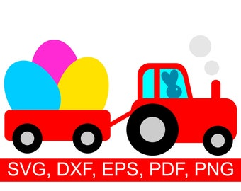 Easter Eggs Tractor SVG File with Easter Rabbit driving a tractor loaded with big colored Easter Eggs