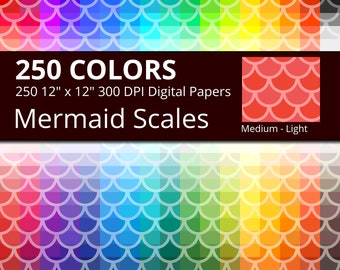 250 Mermaid Scales Digital Paper Pack with 250 Colors, Rainbow Colors Medium Light Mermaid Scales Pattern Scrapbooking Paper Download