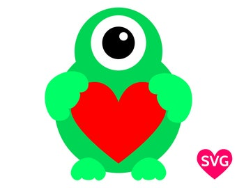 Cute One Eyed Monster holding an heart for Valentine's Day SVG file for Cricut & Silhouette