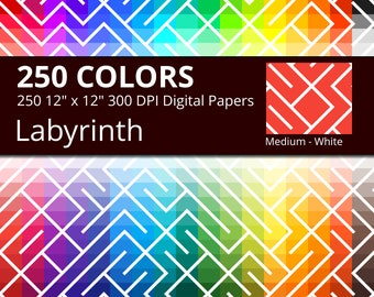 Labyrinth Digital Paper Pack, 250 Colors Lines Digital Paper Labyrinth Pattern, Labyrinth Background, Medium White Labyrinth Digital Papers