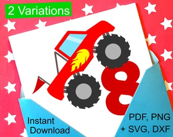 Monster Truck 8th Birthday SVG and Printable Clipart to make a 8th Birthday Shirt, Gift, Card, Invite or Invitations for boys