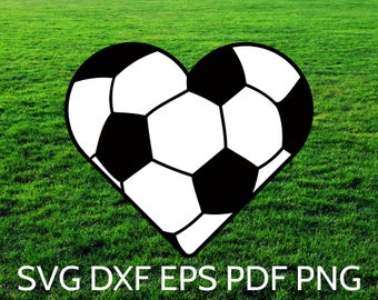 SVG Soccer Heart Ball design and cut file for Cricut & Silhouette for boys and girls who love soccer! SVG Soccer Ball Heart Clipart