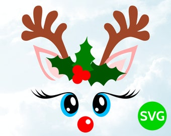 Reindeer Face SVG - Christmas SVG Reindeer Head with Antlers and Holly - SVG Cut file for Cricut & Silhouette - Cute Reindeer svg design