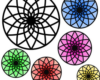 Rosette Mandala SVG file for Cricut in assorted colors plus black and white outline