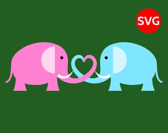 A lovely Elephant couple making a heart with their trunks, Love Elephant SVG file for Cricut and Silhouette