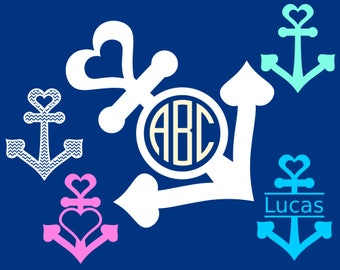Love Anchor SVG File + SVG Monogram Frames - Nautical Clipart - SVG Anchor for Cricut and Silhouette
