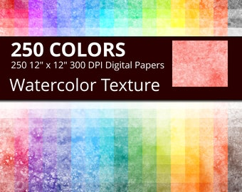 250 Watercolor Digital Paper Pack with 250 Colors, Rainbow Colors Watercolor Texture Pattern, Watercolor Digital Scrapbooking Paper Download