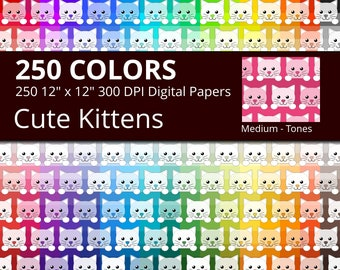 Cute Kittens Digital Paper Pack, 250 Colors Animal Digital Paper Cat Face Pattern, Rainbow Colors Cats, Kitten Digital Background
