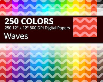 250 Waves Digital Paper Pack with 250 Colors, Rainbow Colors Medium Light Wavy Lines Pattern Scrapbooking Paper Download